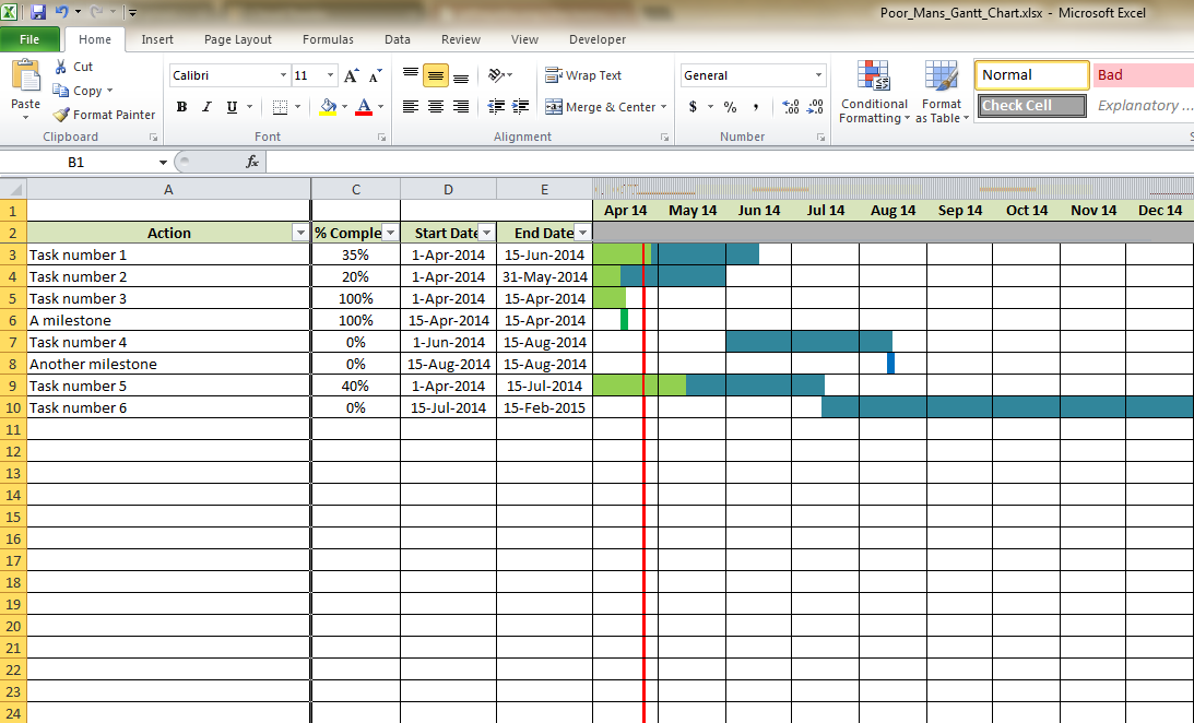 gantt chart in microsoft excel 2010 5 best images of